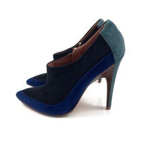 SIGERSON MORRISON suede black + blue stilettos